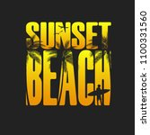 summer sunset beach typography  ... | Shutterstock . vector #1100331560