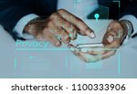 man typing on a smartphone | Shutterstock . vector #1100333906