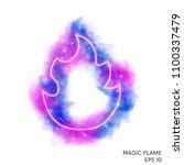 watercolor magic fire torch... | Shutterstock .eps vector #1100337479