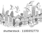 birds over san francisco   hand ... | Shutterstock .eps vector #1100352773