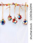 colorful round ball garland... | Shutterstock . vector #1100362094