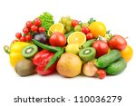 Small photo of fruits and vegetables isolated on a white background
