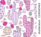 seamless pattern with cactuses. ... | Shutterstock .eps vector #1100365463