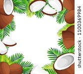 coconut illustration. whole and ... | Shutterstock .eps vector #1100369984
