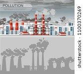 smog polluted urban landscape.... | Shutterstock .eps vector #1100370269