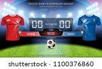soccer jersey mock up team a vs ... | Shutterstock .eps vector #1100376860