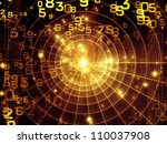 Arrangement of numbers and abstract design elements on the subject of modern computing, virtual reality and digital processing - stock photo