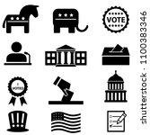 us elections and voting icon set | Shutterstock .eps vector #1100383346