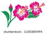 hibiscus flowers vector clip art | Shutterstock .eps vector #1100385494