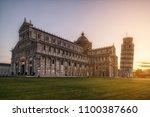 leaning tower of pisa in pisa ... | Shutterstock . vector #1100387660