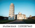 leaning tower of pisa in pisa ... | Shutterstock . vector #1100387663