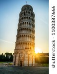 leaning tower of pisa in pisa ... | Shutterstock . vector #1100387666