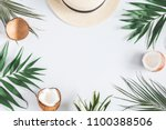 summer composition. tropical... | Shutterstock . vector #1100388506
