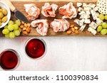 italian antipasti wine snacks... | Shutterstock . vector #1100390834