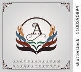 monogram luxury with decorative ... | Shutterstock .eps vector #1100390894