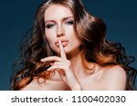 beauty woman face portrait.... | Shutterstock . vector #1100402030