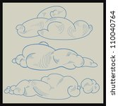 set of vintage drawn clouds | Shutterstock .eps vector #110040764