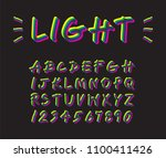 colorful neon lighting font... | Shutterstock .eps vector #1100411426