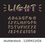 colorful neon lighting font... | Shutterstock .eps vector #1100411426