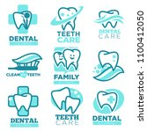 dentistry tooth vector icons... | Shutterstock .eps vector #1100412050