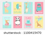super cute bright summer cards  ... | Shutterstock .eps vector #1100415470