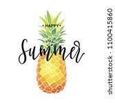 happy summer inscription on the ... | Shutterstock .eps vector #1100415860