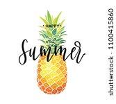 happy summer inscription on the ... | Shutterstock .eps vector #1100415860