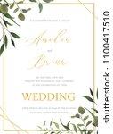 wedding floral golden... | Shutterstock .eps vector #1100417510