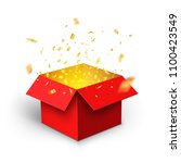 red gift box confetti explosion.... | Shutterstock .eps vector #1100423549