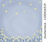 blue pastel sky with cute stars ... | Shutterstock . vector #1100426519