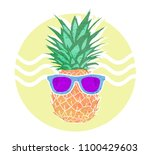 summer card. fashion pineapple... | Shutterstock . vector #1100429603