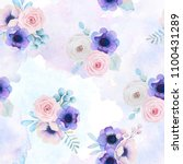 seamless pattern with roses and ... | Shutterstock . vector #1100431289