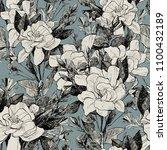 peony seamless pattern. hand... | Shutterstock . vector #1100432189