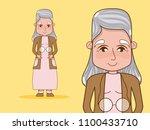 beautiful grandmother cartoon | Shutterstock .eps vector #1100433710