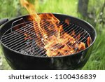 barbecue grill with flame... | Shutterstock . vector #1100436839