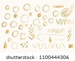 set of gold hand drawn doodle... | Shutterstock .eps vector #1100444306