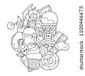 vector doodle illustration.... | Shutterstock .eps vector #1100446673