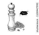 pepper mill with heap of... | Shutterstock . vector #1100447990