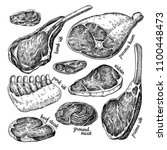 raw meat vector drawing set.... | Shutterstock .eps vector #1100448473