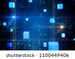 abstract cyber cube circuit... | Shutterstock . vector #1100449406