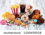 unhealthy products. food bad... | Shutterstock . vector #1100450018