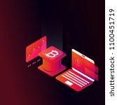 bitcoin isometric concept...   Shutterstock .eps vector #1100451719