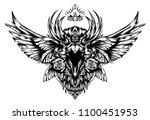 screaming mystical raven   Shutterstock . vector #1100451953
