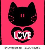 vector love card with kitty... | Shutterstock .eps vector #110045258