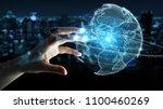 businesswoman on blurred... | Shutterstock . vector #1100460269