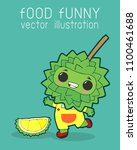 durian funny cartoon poster... | Shutterstock .eps vector #1100461688