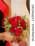 Bouquet of red roses for wedding - stock photo