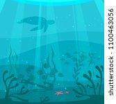 vector cartoon style underwater ... | Shutterstock .eps vector #1100463056