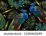 embroidery peacocks tropical... | Shutterstock .eps vector #1100465699