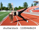 beautiful woman doing sports... | Shutterstock . vector #1100468624